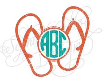 FlipFlop Sandals Monogram SVG DXF PNG digital download file Silhouette Cricut vector graphics Clipart Vinyl Cutting Machines Screen Printing