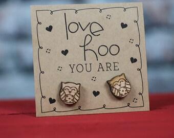 Love HOO you are wood owl earrings