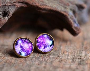 Galaxy earrings, space earrings, antique brass earrings, universe stud earrings, glass earrings, antique bronze / silver plated earrings