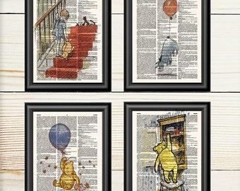 Nursery Gift Set, Winnie The Pooh, Classic Pooh, Nursery, Pooh Birthday, Birthday Gift, Dictionary Art