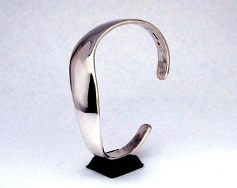 Sterling Silver Cuff Bracelet, Smooth S Curve