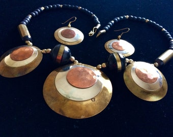 Vintage Mixed Metal Silver, Brass & Copper Necklace Earring Set 1960's