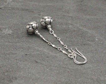 Sterling Silver Dangle Earrings, Silver Chain Earrings, Turkish Silver Earrings, Bali Jewelry, Silver Bead Dangles, Long Silver Dangles