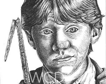 Ron Weasley Hand Drawn Original Art Print