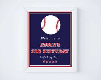 Modern Baseball Birhtday Party Welcome Sign - Printable Baseball Party Sign - Baseball Birthday - Two Sizes - DIGITAL DESIGN