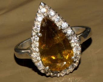 50% Off Genuine Ambilobe Sphene Solitaire with  sterling silver ring  Ring, Size 7.5 US