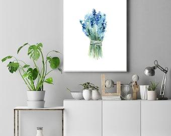 Bluebonnets bouquet fine art print, flowers watercolor painting art, blue floral botanical minimalist modern wall art print