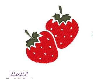 Juicy ripe strawberries embroidery design .PES file Instant download