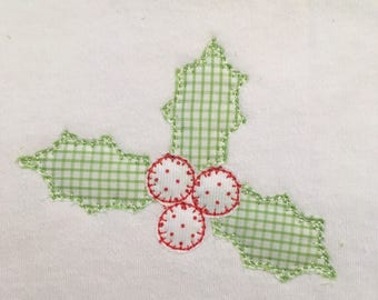 holly berry blanket stitch vintage style applique design file for embroidery