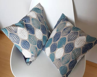 Taupe Cushion cover in blue and white geometric background color