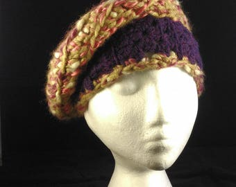 Purple and sage green crocheted hat
