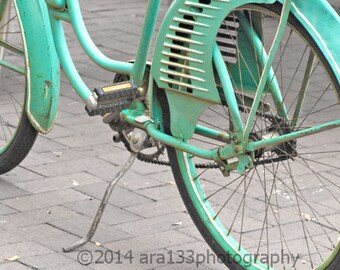 Cottage Chic Teal Blue Bicycle Wall Art Home Decor Photo Photography Old Fashioned 8x8 inch Fine Art Photography Print Cruising About Town