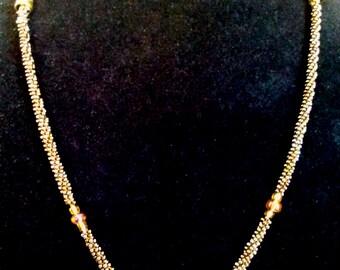 Spike Beaded Necklace Handmade Kumihimo Braid