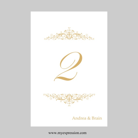 Wedding Table Number Card Template X Flat Vintage - Wedding table numbers template