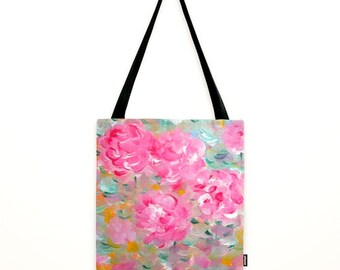 Luscious Pink Peony tote bag Zen Romantic Botanical Peonies Bag Pink Market Tote Shabby Chic Flower Shoulder bag Gift for yogi for gardener