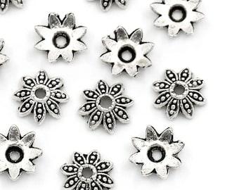 20 bead caps 7 mm antique silver metal flowers