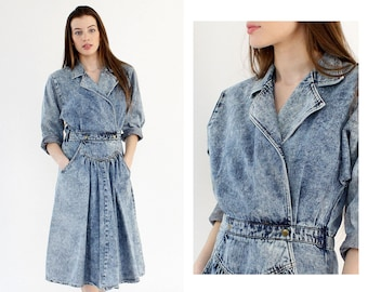 Mizz Lizz Stonewash Dress S/M • Vintage 80s Stonewash Dress • 80s Denim Dress • Acid Washed Denim Dress • 80s Power Dress • D1517