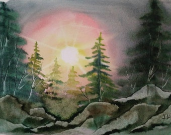 Watercolor Print: Forest at sunset.