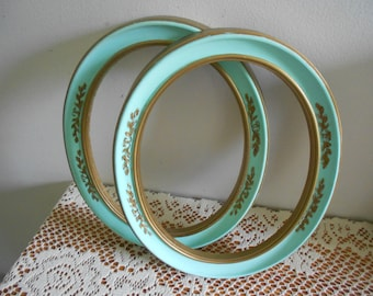 Mint green and gold oval picture frames, upcycled wall frames
