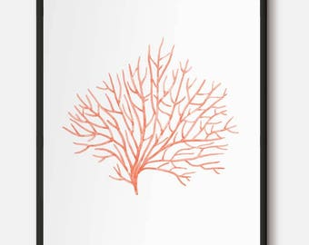 Red Coral wall art, Nautical art, Coral decor, Red coral poster, Red prints, Sea coral art, Red Watercolor poster, Coastal wall print