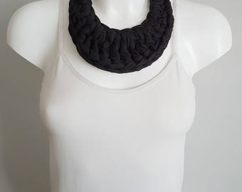 Bib necklace, crochet necklace, fabric necklace, t-shirt necklace, statement necklace, black necklace