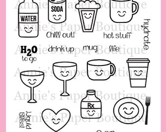 Planner Stamps for Erin Condren, Happy Planner, Color Crush, Carpe Diem, Filofax - Clear, DRINKS & MORE Kawaii, Food Foodie, Coffee, Hydrate
