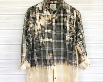 LARGE - Flannel Shirt - Bleached - Vintage Washed Flannel - Oversized Flannel - Distressed Flannel - Plaid Shirt - Fall Shirt - #147 CM