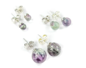 Fluorite Earrings - 8mm 6mm 4mm Gemstone Studs Polished Crystal Ball Jewelry Silver Stud Earring (H18) Healing Crystals And Stones