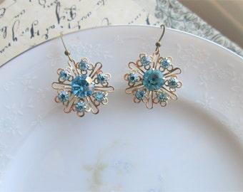 Upcycled Light Blue Rhinestone and Antiqued Filigree Vintage Clip On Earrings into Pierced Dangle Earrings OOAK, Nickel Free
