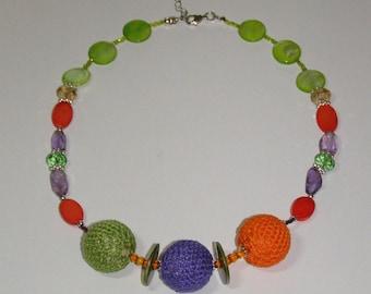 cotton necklace purple, green, Orange