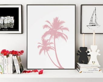 California Art, Palm Print, Pink Decor, Palm Tree Art, Palm Wall Art, California Wall Art, California Wall Print, Pink Home Decor