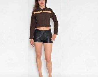 Vintage 90's Brown Long Sleeve Zipper Crop Top