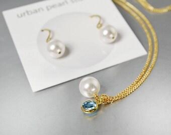 Single Pearl Pendant on Gold Chain Bridesmaids Gift Sets Aqua Blue Drop Necklace Earrings Swarovski Pearls