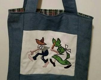tote bag embroidered ma and pa hillbillies  country folk shopping bag reusable grocery bag book bag