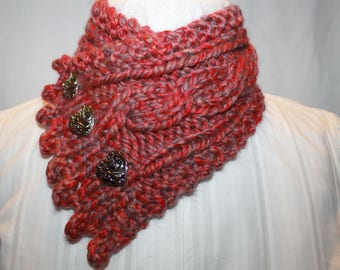 Fishermans Wife Cowl, Cable Knit Cowl, Neck Warmer, Knitted Cowl, Scarlet Red, Holiday Gift Idea