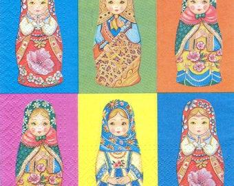 4 Decoupage Napkins, Paper Napkin for Decoupage, Matrioshka, Craft Napkin, Matrioshkas Napkin, Decoupage Paper