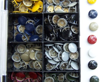 300+ Assorted Color Enameled Metal Flat Stud Buttons