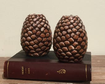Vintage Ceramic Pinecone Salt and Pepper Shakers Rustic Farmhouse Decor Gift Large Pinecones