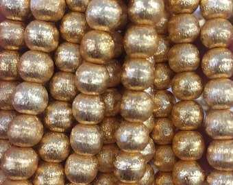 8mm round brushed, gold plated copper beads, 25 beads