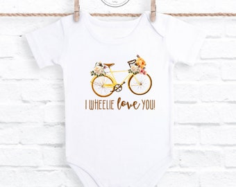 I Wheelie Love You Bike onesie®, Retro Bicycle Baby onesie®, Floral Baby Clothes, Baby Shower Gift, Toddler Shirt, Floral Shirt, Floral