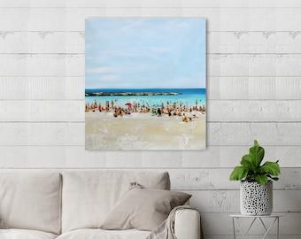 Large Original Beach Oil Painting On Canvas, Abstract Beach Art Painting, Ocean Sea Painting, People Beach Scene, Blue Water, Sea Seascape