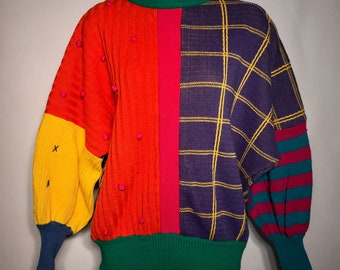Vintage 1980s Multi Color Crazy Sweater Womens Small Cotton Blend Batwing 3/4 Sleeve Retro 80s Ugly Sweater