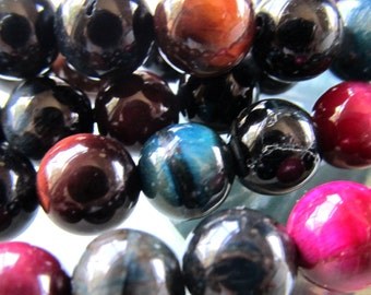 Tiger Eye Beads 12mm Smooth Flashy Dyed Multi Colored Rounds - 8 Pieces