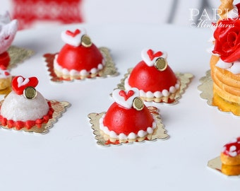 Red Valentine's Dome - Individual French Valentine's Pastry - Miniature Food
