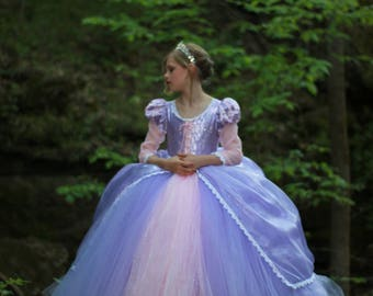 Disney Rapunzel costume, Rapunzel dress, Tangled Dress, Disney Princess Dress, Princess costume, Floewer girl dress