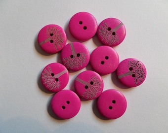 Set of 10 fuchsia pink wooden round buttons