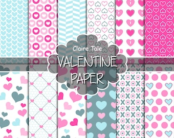 """Valentine's day digital paper: """"VALENTINE'S PAPER"""" valentine's day backgrounds with hearts in pink and blue / valentine's hearts patterns"""