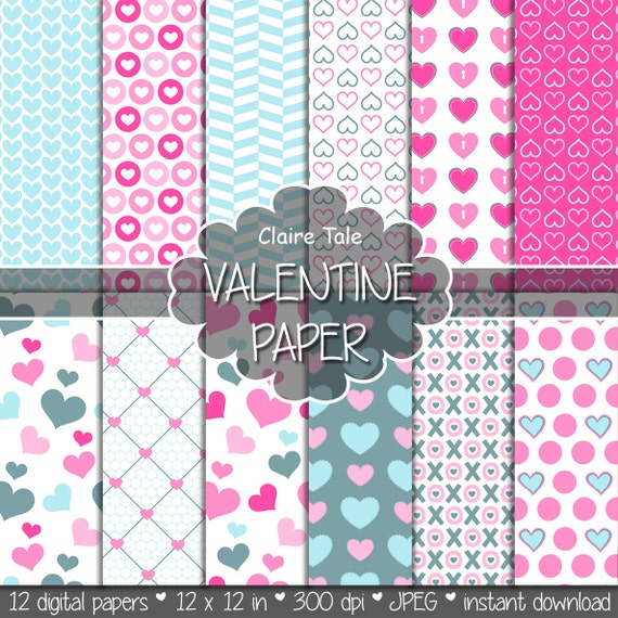 "Valentine's day digital paper: ""VALENTINE'S PAPER"" valentine's day backgrounds with hearts in pink and blue / valentine's hearts patterns"
