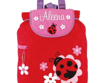 Girls Backpack Personalized Ladybug Stephen Joseph Quilted Preschool Toddler