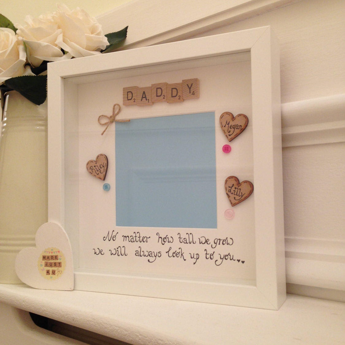 Personalised Daddy Frame, Scrabble Art Frame, Frame For Daddy, Daddy ...